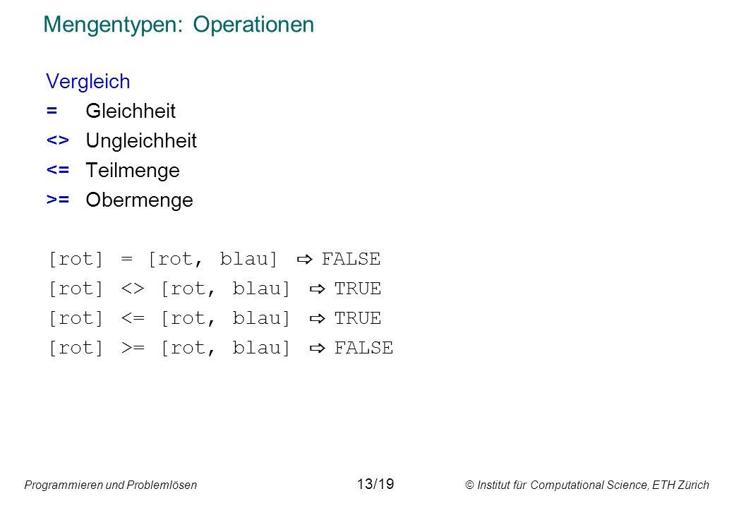 Programmieren und Problemlösen © Institut für Computational Science, ETH Zürich Mengentypen: Operationen Vergleich =Gleichheit <>Ungleichheit <=Teilmenge >=Obermenge [rot] = [rot, blau] FALSE [rot] <> [rot, blau] TRUE [rot] <= [rot, blau] TRUE [rot] >= [rot, blau] FALSE 13/19