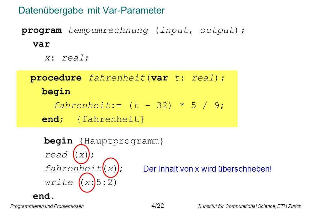 Programmieren und Problemlösen © Institut für Computational Science, ETH Zürich Aufzählungstypen: Operationen Variablen vom Typ Aufzählung können inkrementiert werden.