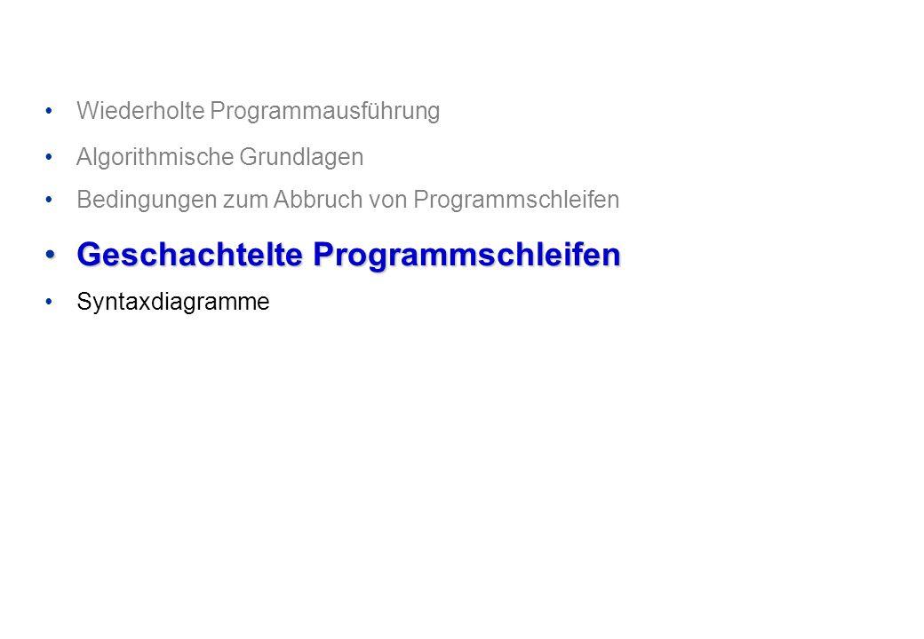 Wiederholte Programmausführung Algorithmische Grundlagen Bedingungen zum Abbruch von Programmschleifen Geschachtelte ProgrammschleifenGeschachtelte Programmschleifen Syntaxdiagramme