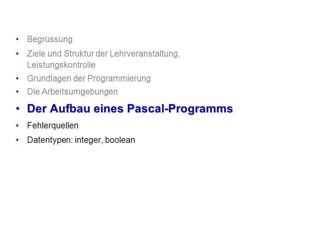 Begrüssung Ziele und Struktur der Lehrveranstaltung, Leistungskontrolle Grundlagen der Programmierung Die Arbeitsumgebungen Der Aufbau eines Pascal-Pr