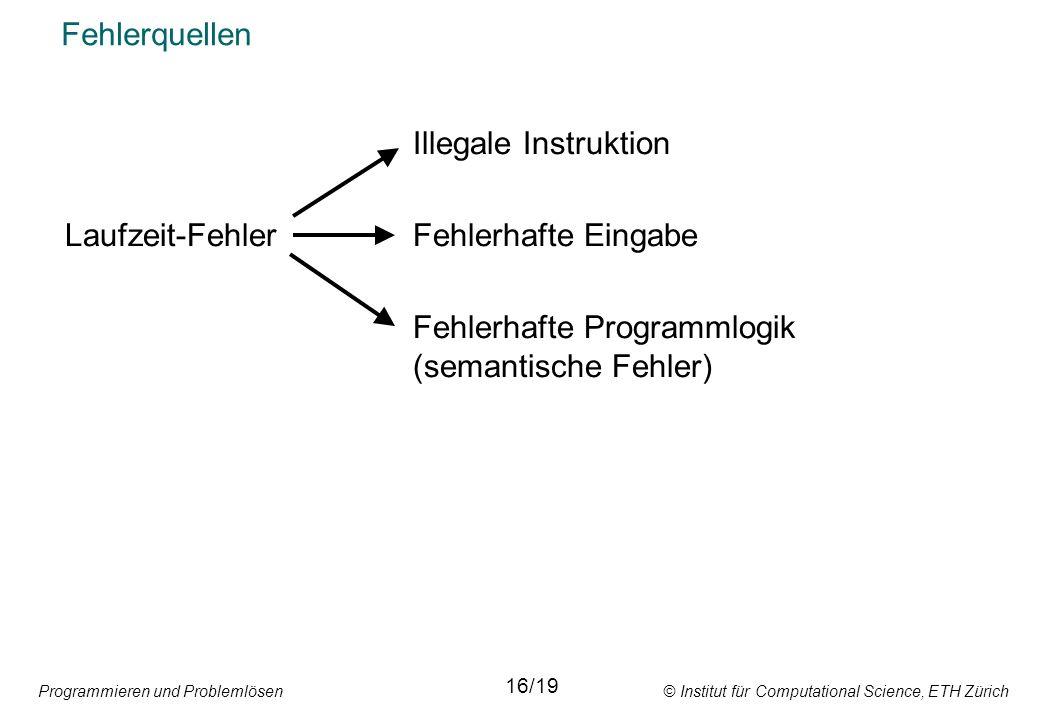 Programmieren und Problemlösen © Institut für Computational Science, ETH Zürich Fehlerquellen Illegale Instruktion Laufzeit-FehlerFehlerhafte Eingabe