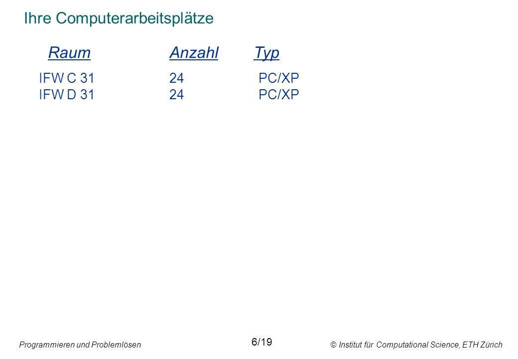Programmieren und Problemlösen © Institut für Computational Science, ETH Zürich Zuweisungsanweisung y := (x - 32) * 5 / 9; Arithmetischer Ausdruck 14/19 Variablenbezeichner Zuweisungssymbol Ein arithmetischer Ausdruck erzeugt einen einzigen Wert.