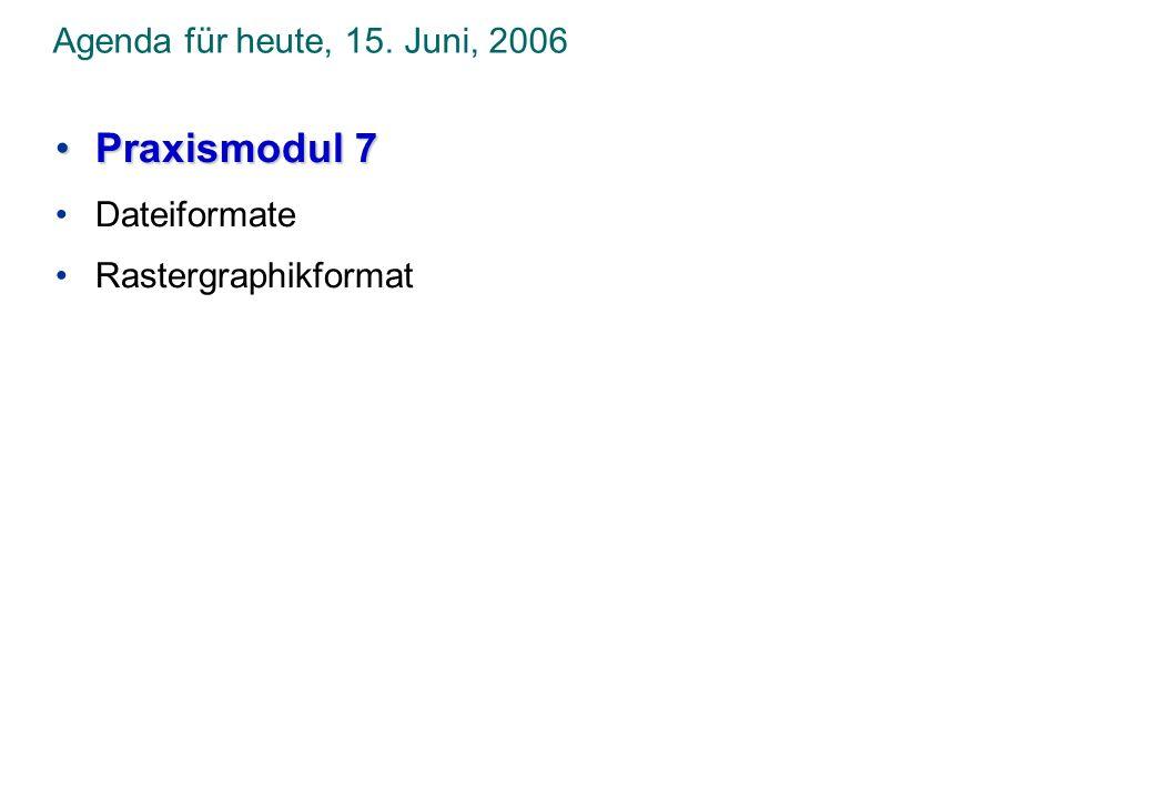 Agenda für heute, 15. Juni, 2006 Praxismodul 7Praxismodul 7 Dateiformate Rastergraphikformat