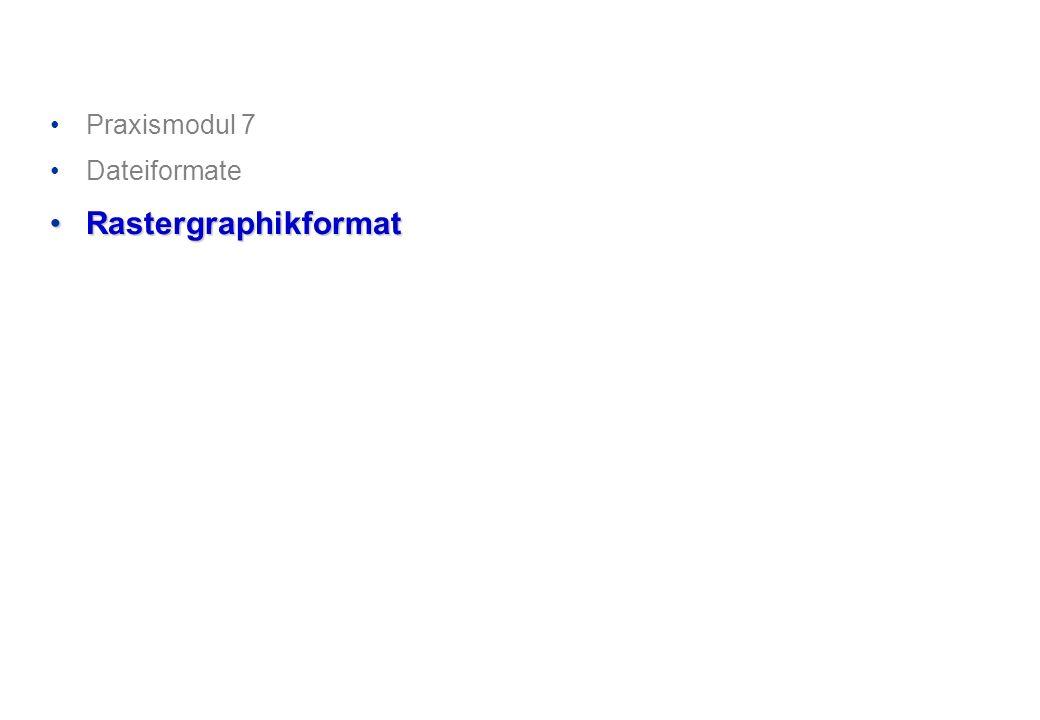 Praxismodul 7 Dateiformate RastergraphikformatRastergraphikformat