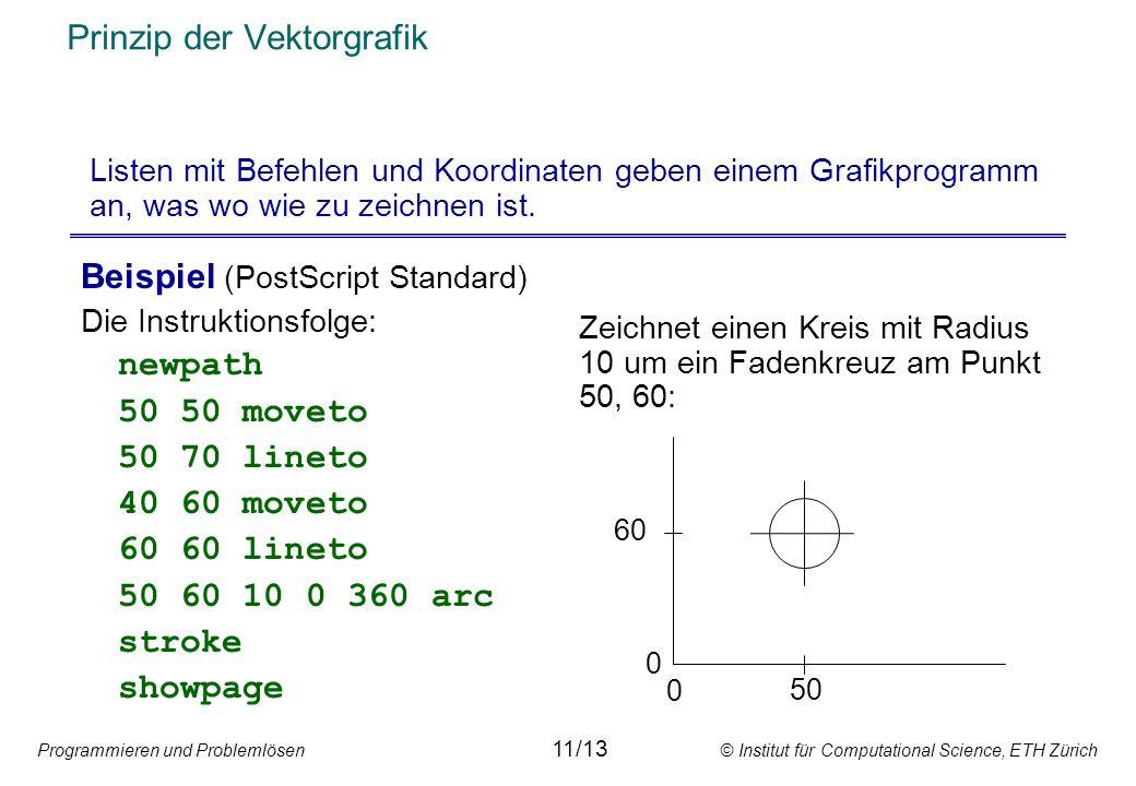 Programmieren und Problemlösen © Institut für Computational Science, ETH Zürich Prinzip der Vektorgrafik Beispiel (PostScript Standard) Die Instruktio