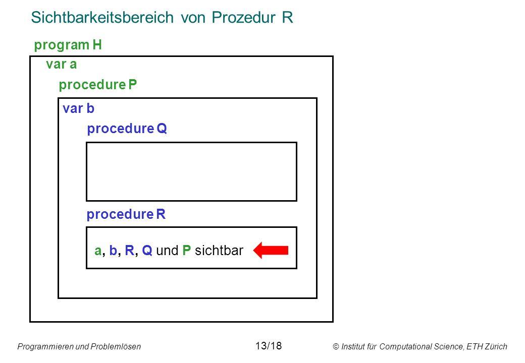 Programmieren und Problemlösen © Institut für Computational Science, ETH Zürich Sichtbarkeitsbereich von Prozedur R var a procedure P var b procedure Q procedure R a, b, R, Q und P sichtbar program H 13/18