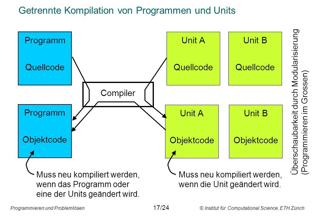 Programmieren und Problemlösen © Institut für Computational Science, ETH Zürich Getrennte Kompilation von Programmen und Units Programm Quellcode Unit