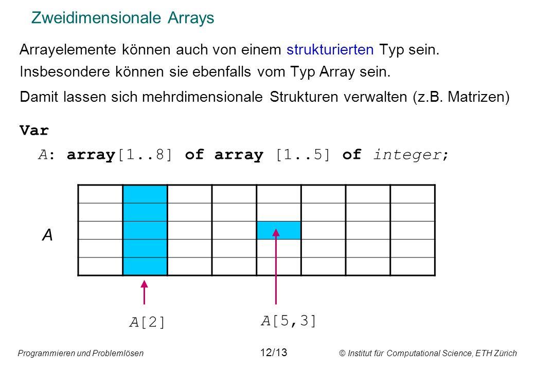 Programmieren und Problemlösen © Institut für Computational Science, ETH Zürich Zweidimensionale Arrays Arrayelemente können auch von einem strukturierten Typ sein.