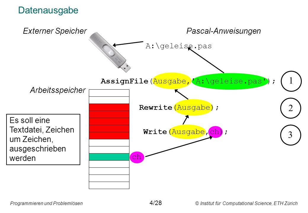 Programmieren und Problemlösen © Institut für Computational Science, ETH Zürich Schreiben einer sequentiellen Datei AssignFile(F, D ) Rewrite(F) F D D F 0 Write(F,V) F D V 1 Schematische Darstellung Write(F,V) F D V 2 Vorsicht: Rewrite löscht den Inhalt einer bestehenden Datei.