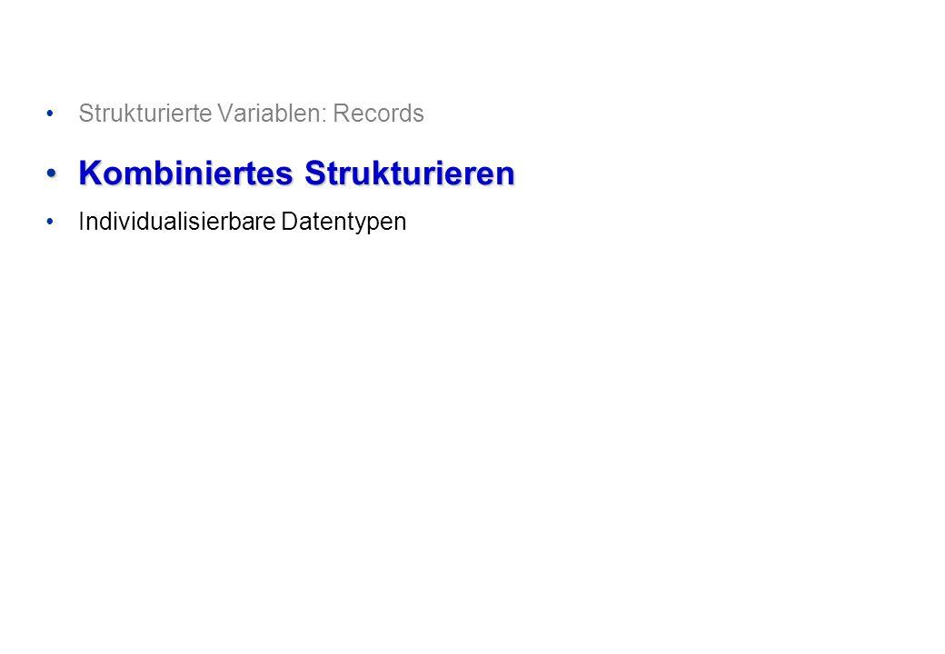 Programmieren und Problemlösen © Institut für Computational Science, ETH Zürich Arrays von Records, Records mit Arrays var Wochentage: array[1..366]of record Tag: byte; Monat: string[9]; Jahr: integer; Werktag: boolean end; R: record Tag: byte; Monat: array [1..9] of char; Jahr: integer; Werktag: boolean end; 4/8
