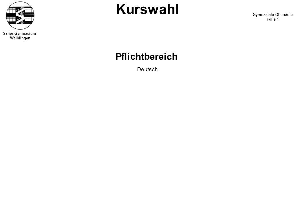 Salier-Gymnasium Waiblingen Kurswahl Gymnasiale Oberstufe Folie 1 Pflichtbereich Deutsch