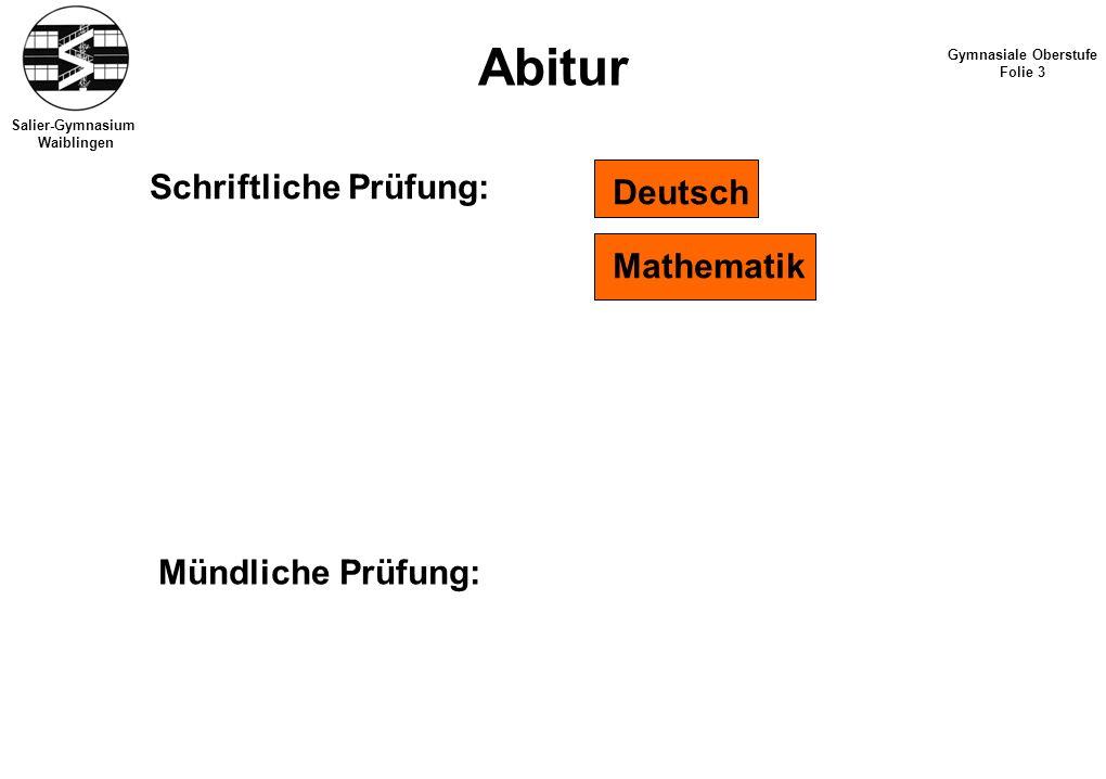 Salier-Gymnasium Waiblingen Abitur Gymnasiale Oberstufe Folie 3 Schriftliche Prüfung: Deutsch Mathematik Mündliche Prüfung: