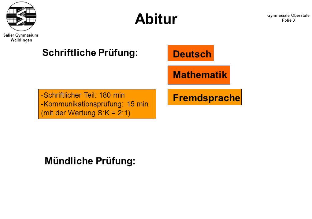 Salier-Gymnasium Waiblingen Abitur Gymnasiale Oberstufe Folie 3 Schriftliche Prüfung: Deutsch Mathematik Fremdsprache Mündliche Prüfung: -Schriftliche