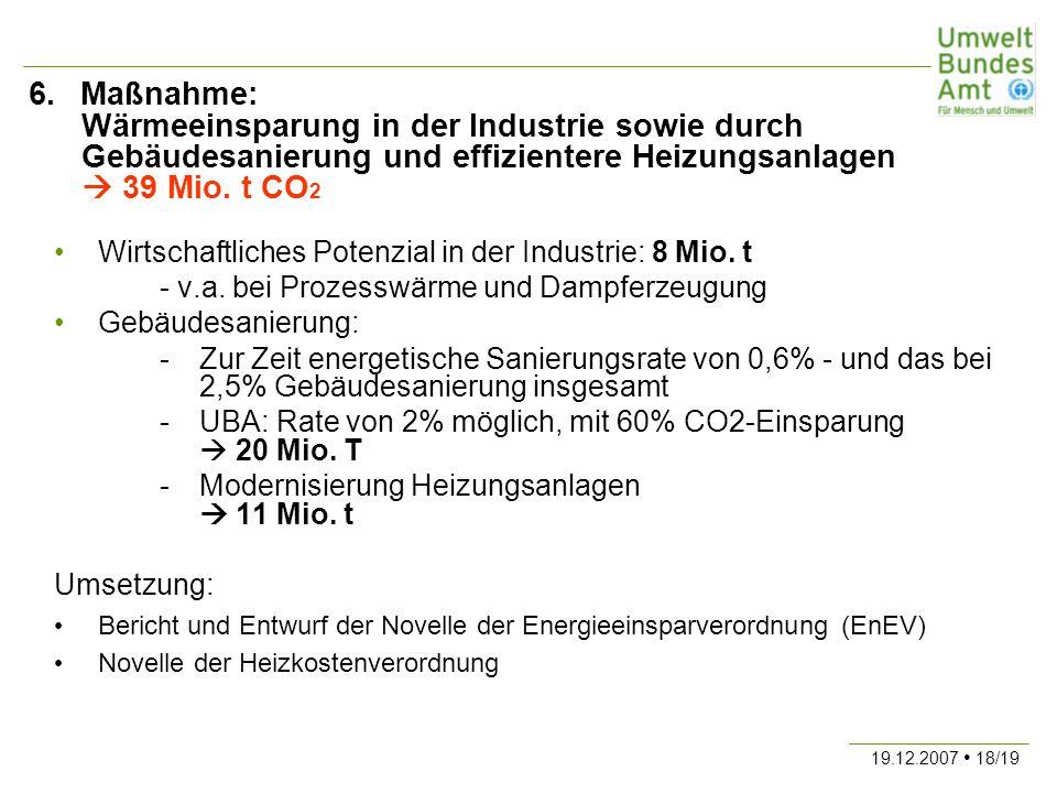 19.12.2007 18/19 6. Maßnahme: Wärmeeinsparung in der Industrie sowie durch Gebäudesanierung und effizientere Heizungsanlagen 39 Mio. t CO 2 Wirtschaft