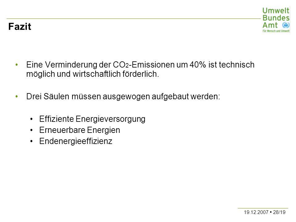 19.12.2007 28/19 Fazit Eine Verminderung der CO 2 -Emissionen um 40% ist technisch möglich und wirtschaftlich förderlich. Drei Säulen müssen ausgewoge
