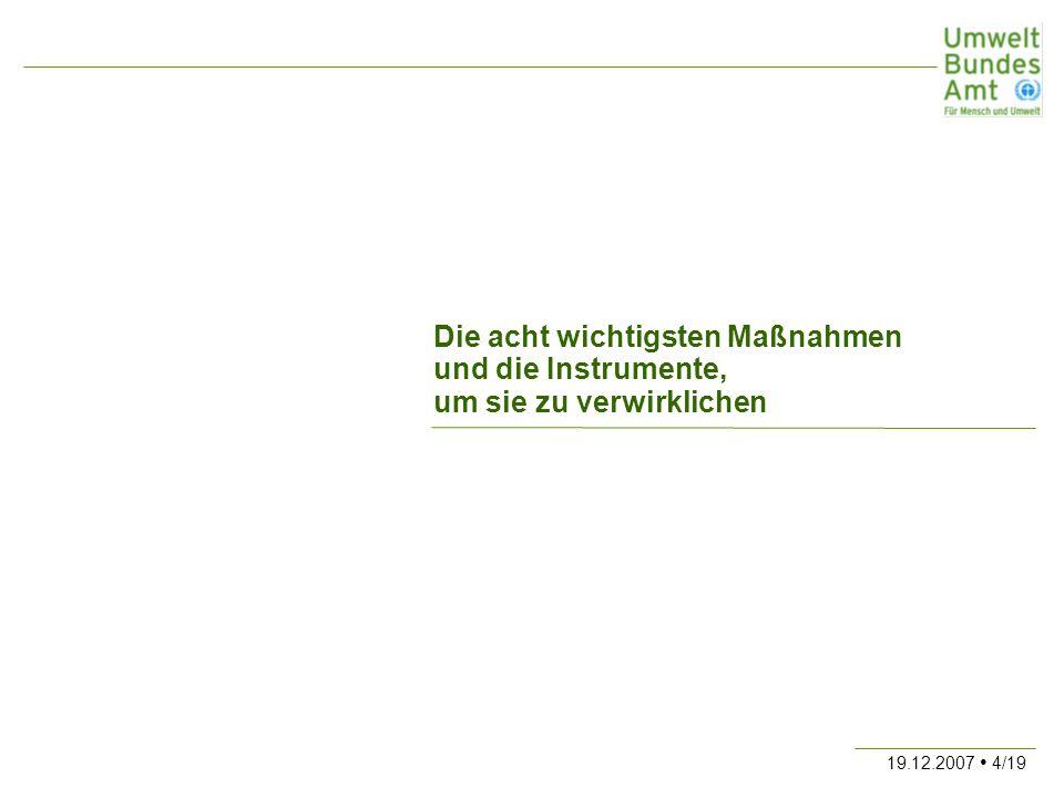 19.12.2007 15/19 4.Maßnahme: Ausbau der Kraft-Wärme-Kopplung 15 Mio.