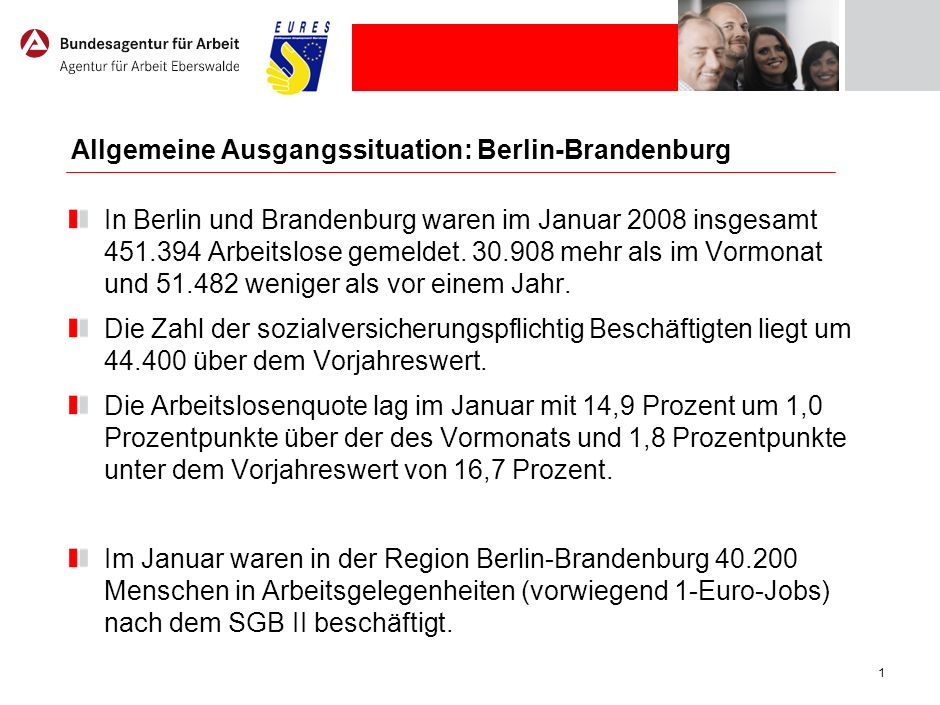 1 Allgemeine Ausgangssituation: Berlin-Brandenburg In Berlin und Brandenburg waren im Januar 2008 insgesamt 451.394 Arbeitslose gemeldet. 30.908 mehr