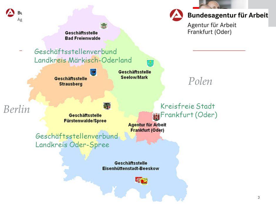 4 Agentur für Arbeit Frankfurt (Oder) Entwicklung der Zahl der Arbeitslosen 48.847 Januar 2005 44.331 Januar 2006 39.257 Januar 2007 35.008 Januar 2008