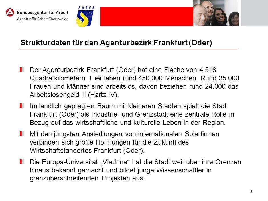 5 Strukturdaten für den Agenturbezirk Frankfurt (Oder) Der Agenturbezirk Frankfurt (Oder) hat eine Fläche von 4.518 Quadratkilometern. Hier leben rund