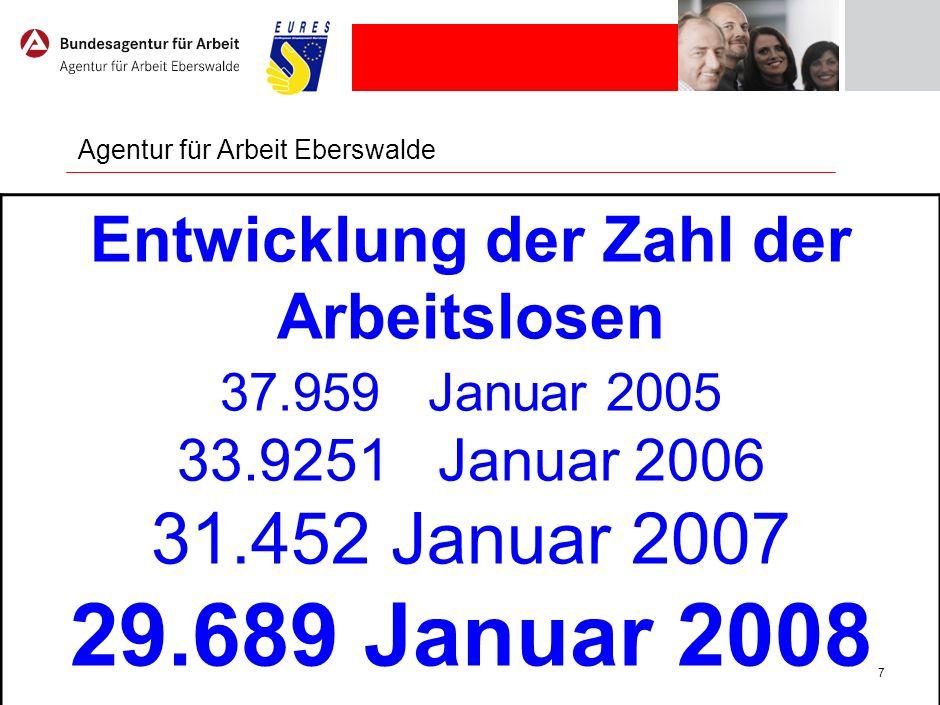 7 Agentur für Arbeit Eberswalde Entwicklung der Zahl der Arbeitslosen 37.959 Januar 2005 33.9251 Januar 2006 31.452 Januar 2007 29.689 Januar 2008
