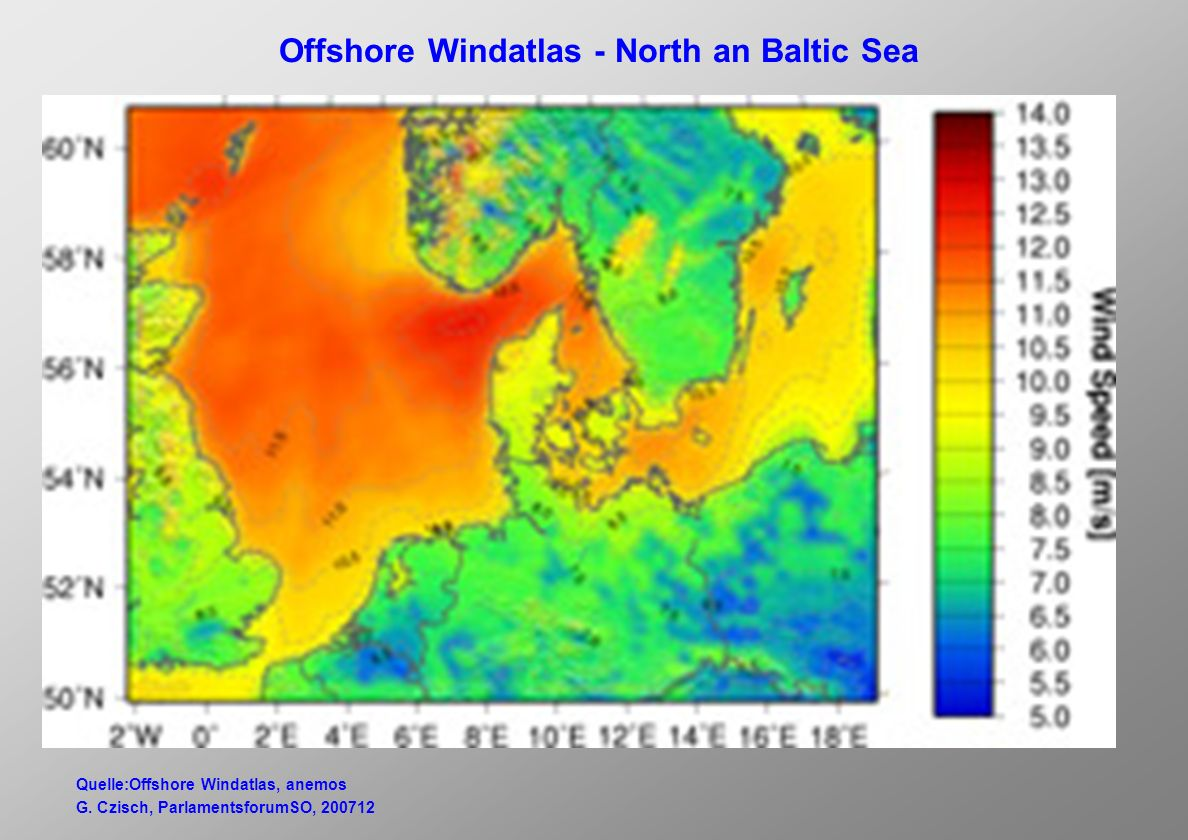 Offshore Windatlas - North an Baltic Sea Quelle:Offshore Windatlas, anemos G.