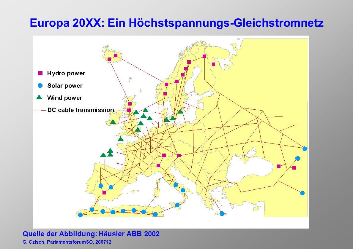 Europa 20XX: Ein Höchstspannungs-Gleichstromnetz Quelle der Abbildung: Häusler ABB 2002 G.