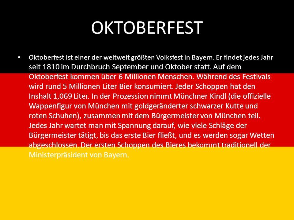 OKTOBERFEST Oktoberfest ist einer der weltweit größten Volksfest in Bayern. Er findet jedes Jahr seit 1810 im Durchbruch September und Oktober statt.