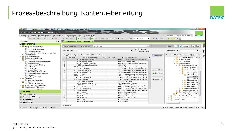 ©DATEV eG; alle Rechte vorbehalten 11 Prozessbeschreibung Kontenueberleitung 2014-05-19