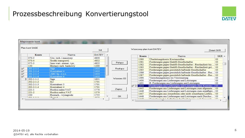 ©DATEV eG; alle Rechte vorbehalten 7 Prozessbeschreibung Konvertierungstool 2014-05-19
