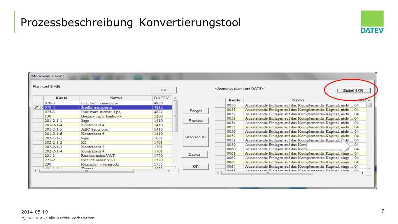 ©DATEV eG; alle Rechte vorbehalten 8 Prozessbeschreibung Konvertierungstool 2014-05-19