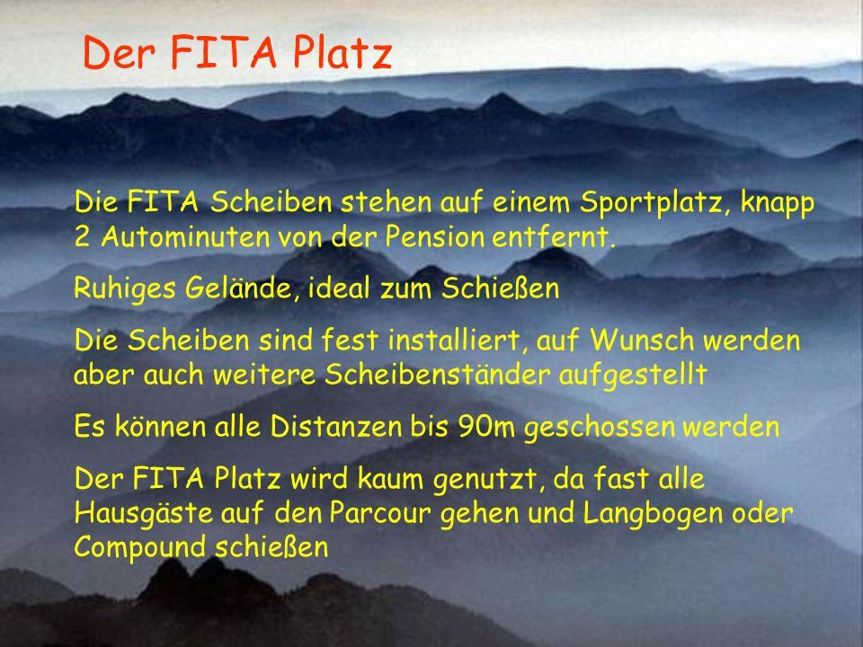 Die FITA Scheiben stehen auf einem Sportplatz, knapp 2 Autominuten von der Pension entfernt. Ruhiges Gelände, ideal zum Schießen Die Scheiben sind fes