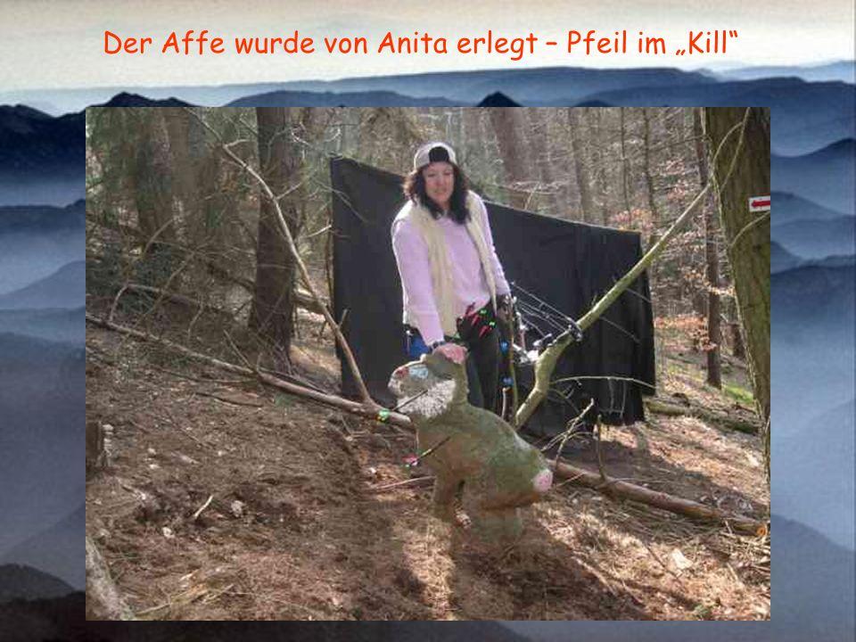 Der Affe wurde von Anita erlegt – Pfeil im Kill