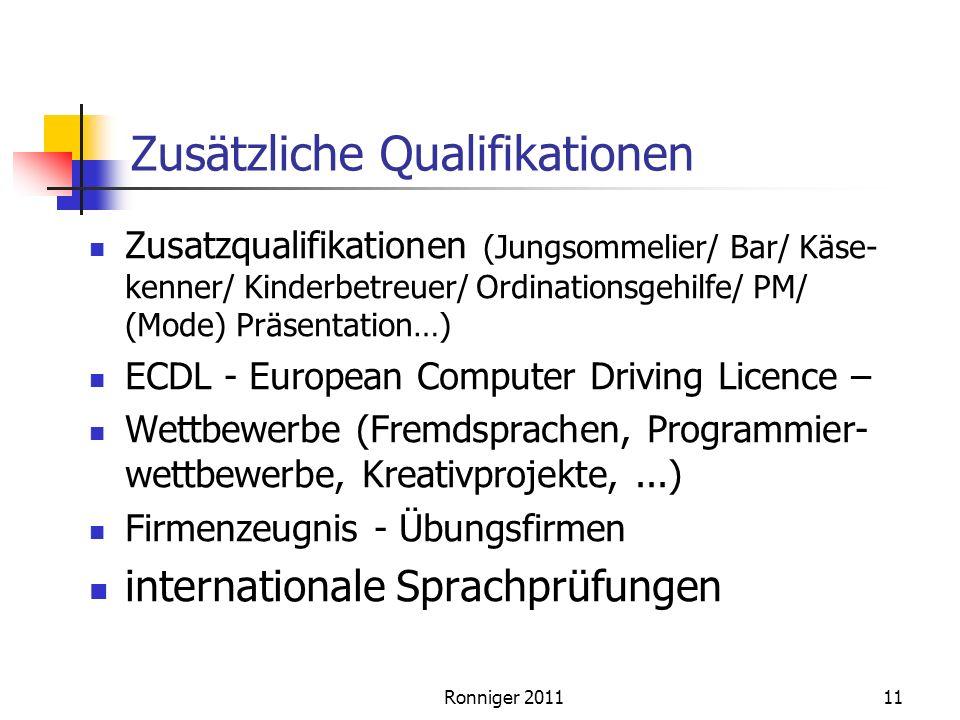Zusätzliche Qualifikationen Zusatzqualifikationen (Jungsommelier/ Bar/ Käse- kenner/ Kinderbetreuer/ Ordinationsgehilfe/ PM/ (Mode) Präsentation…) ECDL - European Computer Driving Licence – Wettbewerbe (Fremdsprachen, Programmier- wettbewerbe, Kreativprojekte,...) Firmenzeugnis - Übungsfirmen internationale Sprachprüfungen 11Ronniger 2011