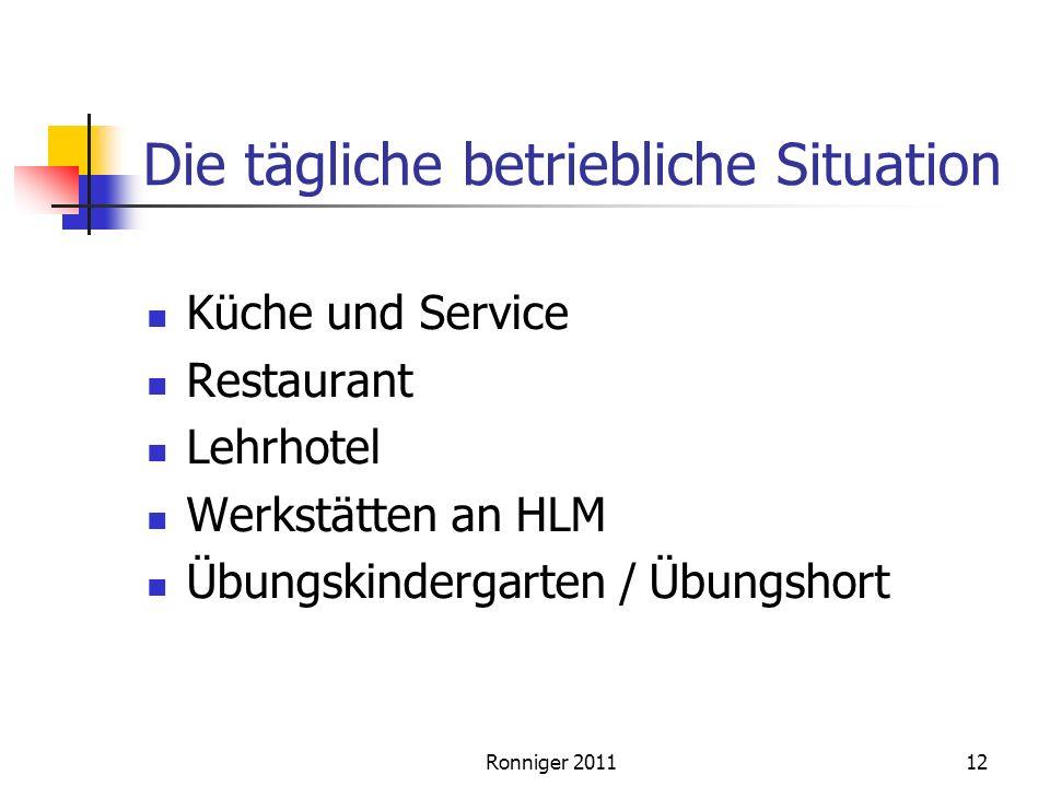 Die tägliche betriebliche Situation Küche und Service Restaurant Lehrhotel Werkstätten an HLM Übungskindergarten / Übungshort 12Ronniger 2011