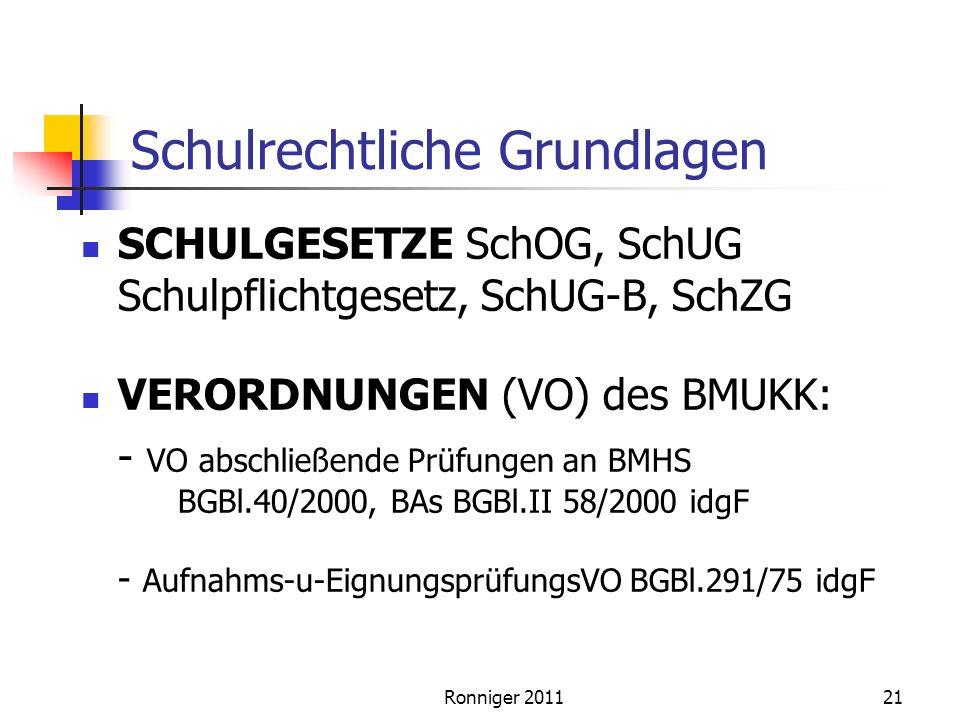 Schulrechtliche Grundlagen SCHULGESETZE SchOG, SchUG Schulpflichtgesetz, SchUG-B, SchZG VERORDNUNGEN (VO) des BMUKK: - VO abschließende Prüfungen an BMHS BGBl.40/2000, BAs BGBl.II 58/2000 idgF - Aufnahms-u-EignungsprüfungsVO BGBl.291/75 idgF Ronniger 201121