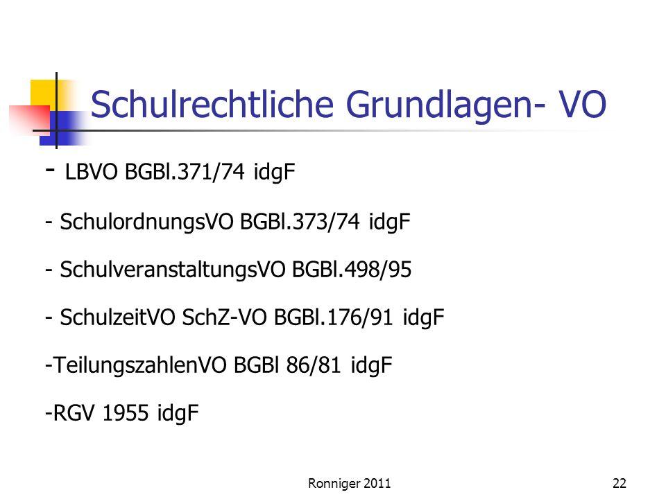 Schulrechtliche Grundlagen- VO - LBVO BGBl.371/74 idgF - SchulordnungsVO BGBl.373/74 idgF - SchulveranstaltungsVO BGBl.498/95 - SchulzeitVO SchZ-VO BGBl.176/91 idgF -TeilungszahlenVO BGBl 86/81 idgF -RGV 1955 idgF Ronniger 201122