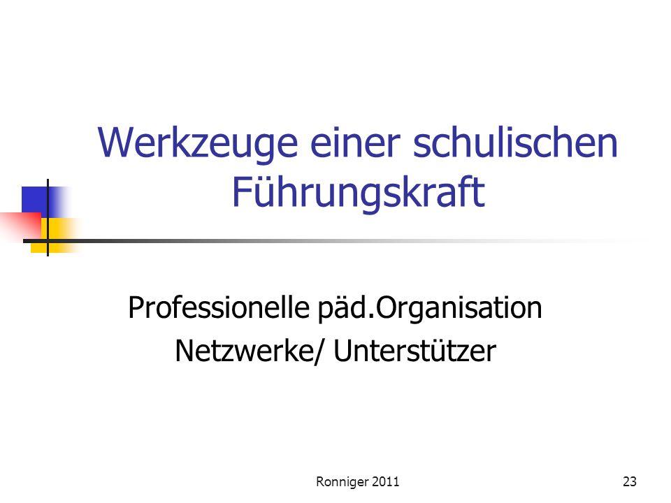 Ronniger 201123 Werkzeuge einer schulischen Führungskraft Professionelle päd.Organisation Netzwerke/ Unterstützer