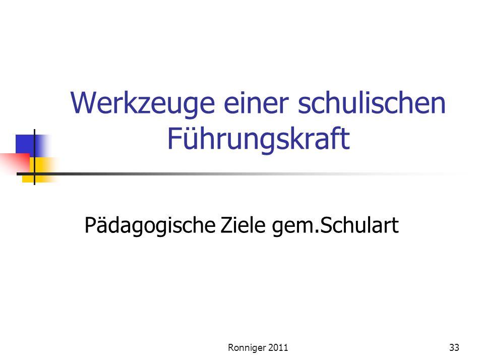 Ronniger 201133 Werkzeuge einer schulischen Führungskraft Pädagogische Ziele gem.Schulart