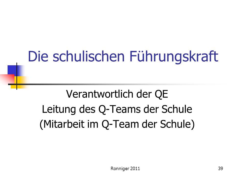 Ronniger 201139 Die schulischen Führungskraft Verantwortlich der QE Leitung des Q-Teams der Schule (Mitarbeit im Q-Team der Schule)