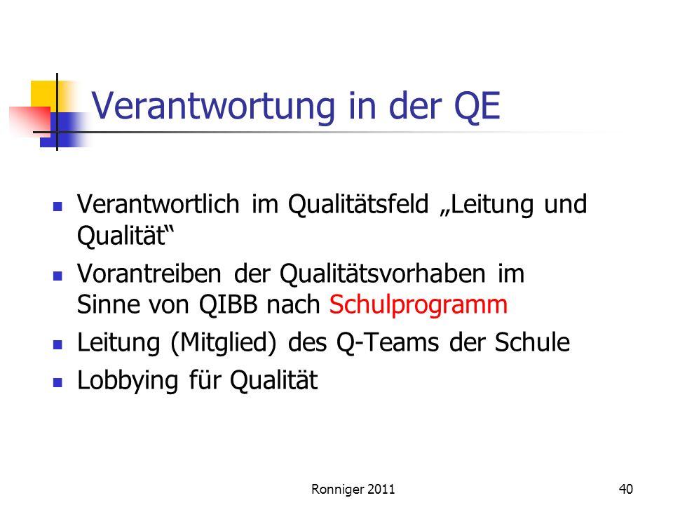 Ronniger 201140 Verantwortung in der QE Verantwortlich im Qualitätsfeld Leitung und Qualität Vorantreiben der Qualitätsvorhaben im Sinne von QIBB nach Schulprogramm Leitung (Mitglied) des Q-Teams der Schule Lobbying für Qualität