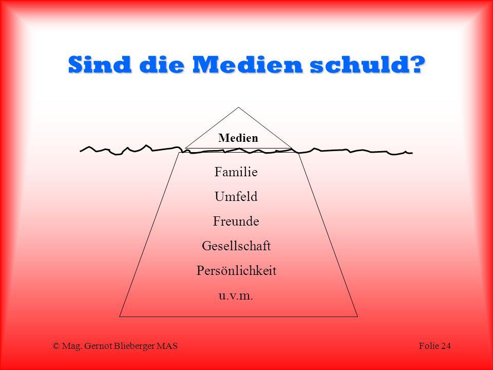 © Mag.Gernot Blieberger MASFolie 24 Sind die Medien schuld.