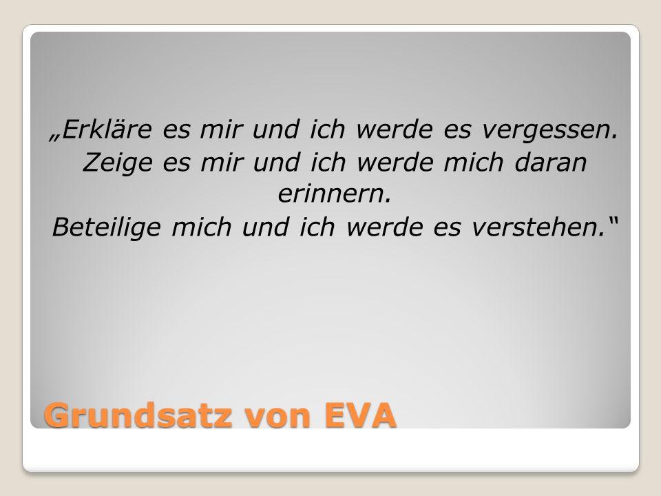 Grundsatz von EVA Erkläre es mir und ich werde es vergessen. Zeige es mir und ich werde mich daran erinnern. Beteilige mich und ich werde es verstehen