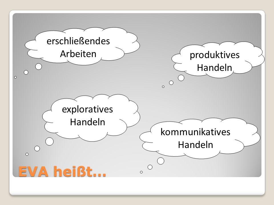 EVA heißt… erschließendes Arbeiten produktives Handeln exploratives Handeln kommunikatives Handeln