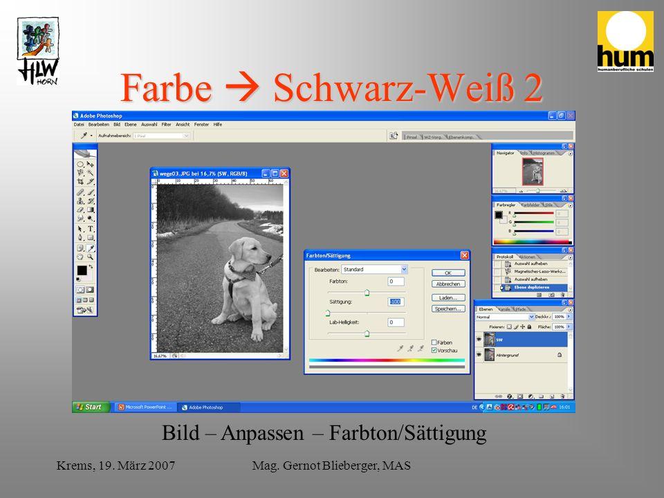 Krems, 19. März 2007Mag. Gernot Blieberger, MAS Farbe Schwarz-Weiß 2 Bild – Anpassen – Farbton/Sättigung