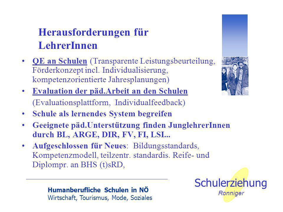 Humanberufliche Schulen in NÖ Wirtschaft, Tourismus, Mode, Soziales Schulerziehung Ronniger Herausforderungen für LehrerInnen QE an Schulen (Transparente Leistungsbeurteilung, Förderkonzept incl.