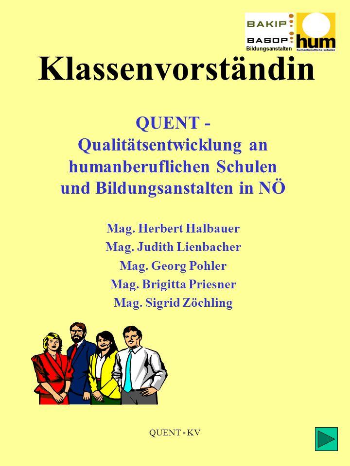 QUENT - KV Klassenvorständin QUENT - Qualitätsentwicklung an humanberuflichen Schulen und Bildungsanstalten in NÖ Mag.