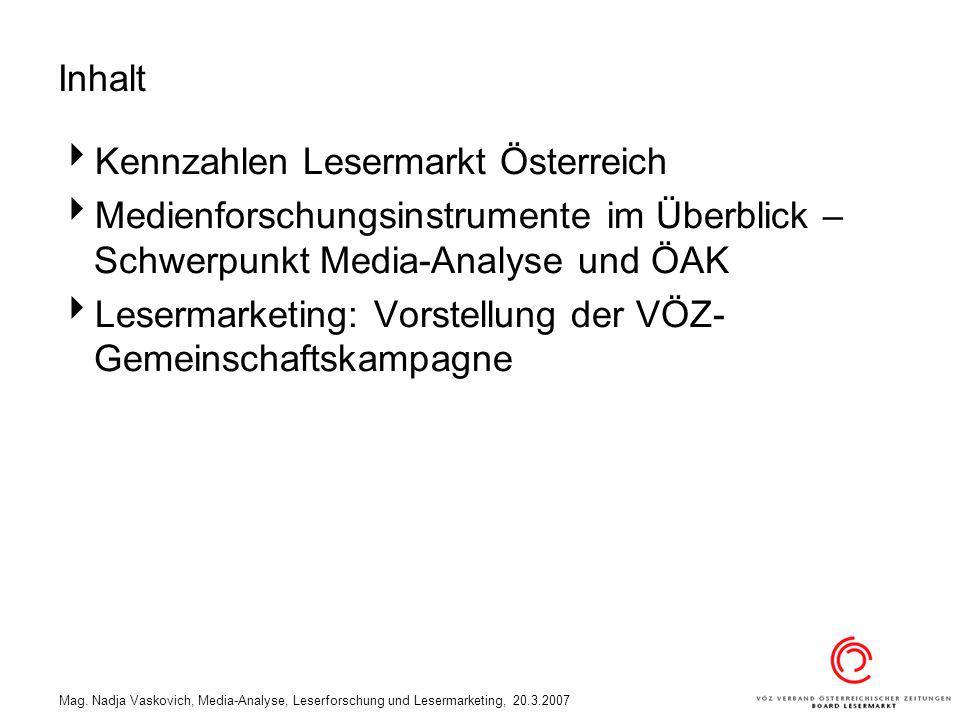 Mag. Nadja Vaskovich, Media-Analyse, Leserforschung und Lesermarketing, 20.3.2007 Inhalt Kennzahlen Lesermarkt Österreich Medienforschungsinstrumente