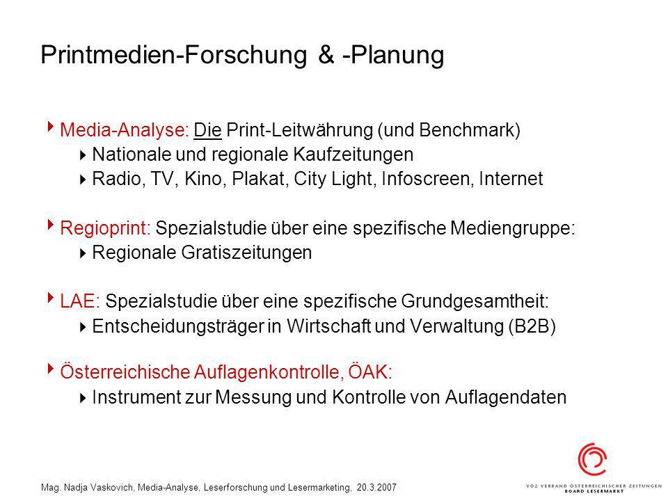 Mag. Nadja Vaskovich, Media-Analyse, Leserforschung und Lesermarketing, 20.3.2007 Printmedien-Forschung & -Planung Media-Analyse: Die Print-Leitwährun
