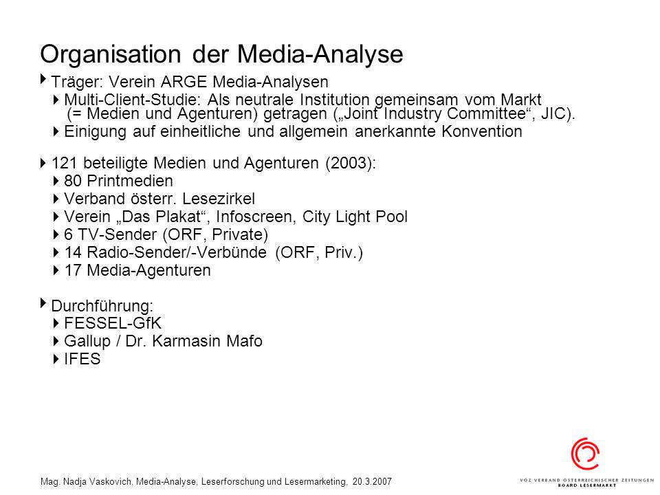 Mag. Nadja Vaskovich, Media-Analyse, Leserforschung und Lesermarketing, 20.3.2007 Organisation der Media-Analyse Träger: Verein ARGE Media-Analysen Mu