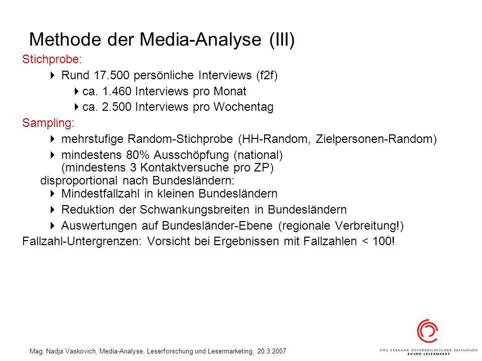 Mag. Nadja Vaskovich, Media-Analyse, Leserforschung und Lesermarketing, 20.3.2007 Methode der Media-Analyse (III) Stichprobe: Rund 17.500 persönliche